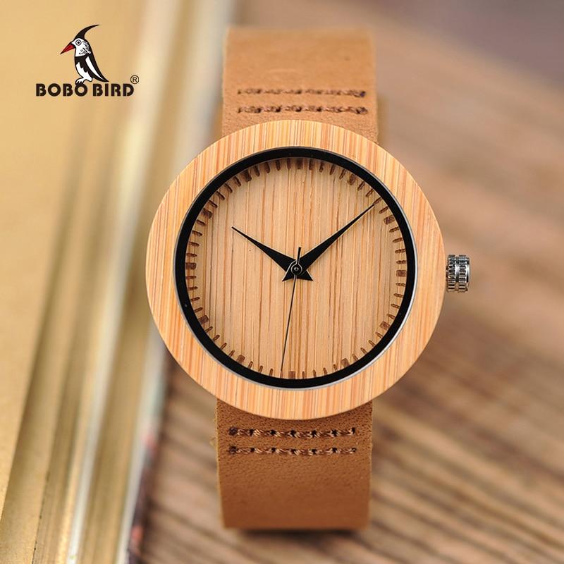 все цены на BOBO BIRD Women Watch Bamboo Wooden Wristwatches Ladies Japan Movement Quartz horloges vrouwen Leather strap in Gift Box онлайн