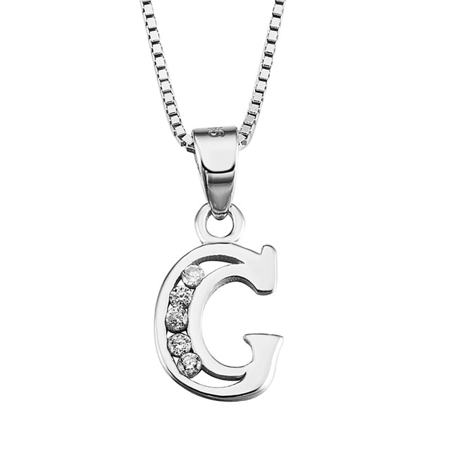 51cb5bbfdbc 100% Pur Argent 925 Bijoux 26 Initiales Lettre G Hommes Femmes collier AAA  zircon Vente