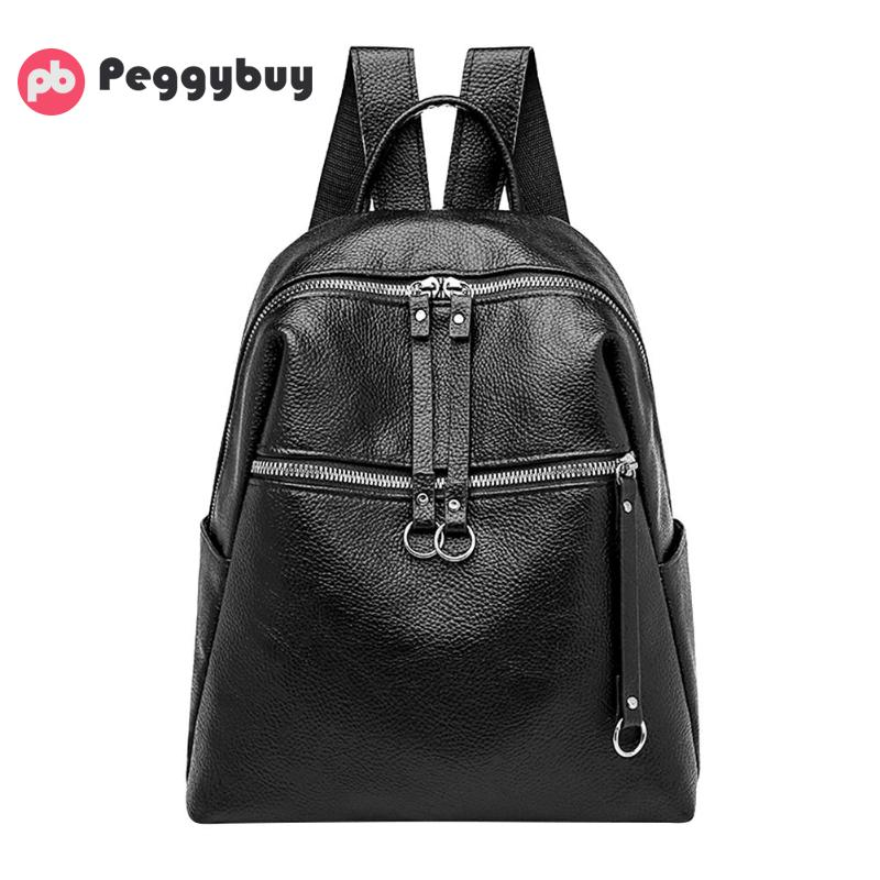 Women Backpack PU Leather Shoulder Bag Student Girls Travel School Bags Black Small Clutch Bag For Lovely Teen Girls 2019