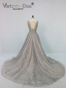 Image 3 - VARBOO_ELSA 2018 Silver Sparkly Long Evening Dress Sexy Double Deep V Neck Prom Dress Elegant Long Train Backless robe de soiree