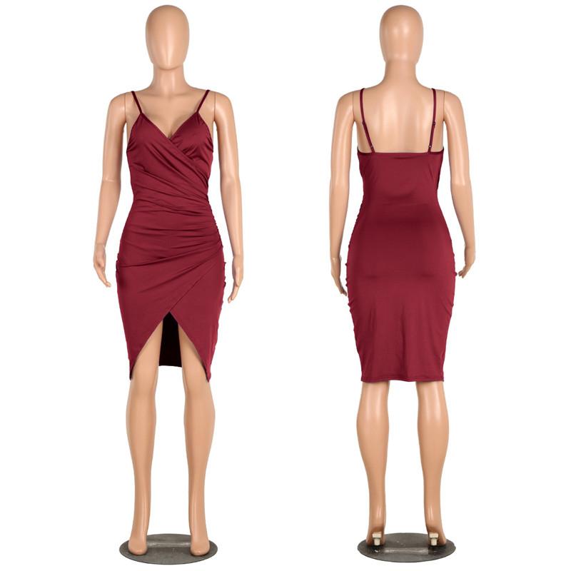 sexy deep v neck spaghetti strap dress-13