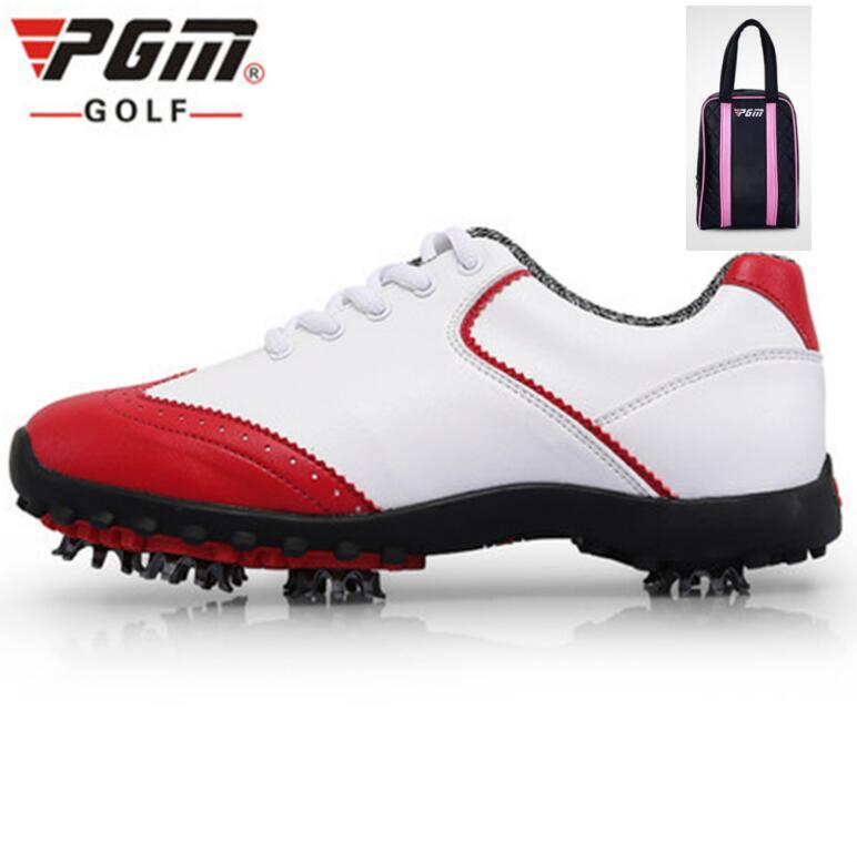 PGM Women British style Golf Shoes Waterproof breathable microfiber leather Sneakers Non Slip Sport Shoes With shoes bagsPGM Women British style Golf Shoes Waterproof breathable microfiber leather Sneakers Non Slip Sport Shoes With shoes bags