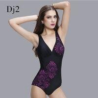 2017 neue Rabatt Schwarz V-ausschnitt einteiligen Badeanzug Sexy Damen Marke Bademode 3D Gedruckt Backless Strand Badeanzug Monokini XXL