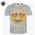 Nueva Moda hombres/mujeres causal o-cuello de impresión divertida de dibujos animados emoji camiseta ocasional top del tamaño extra grande