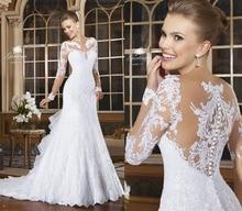 Sexy Mermaid Wedding Dresses 2015 Romantic Lace Beading Bride Button Back Long Sleeve Vestido De Noiva Court Train Hot