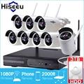 8ch Sistema CCTV 2MP 1080 P HD Inalámbrico kit NVR 3 TB HDD visión nocturna por infrarrojos ip wifi al aire libre cámara de seguridad del sistema de vigilancia hiseeu