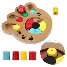 Interactive Puzzle Toys for Dogs Cats Food Treated Wooden Dog Toy Eco-friendly Puppy Pet Toy Educational Pet Bone Paw Puzzle Toy