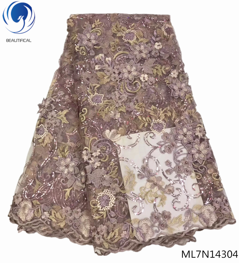 BEAUTIFICAL french lace fabric tulle nigerian french lace fabric 3d flower embroidery lace with sequins 5 yards/piece ML7N143BEAUTIFICAL french lace fabric tulle nigerian french lace fabric 3d flower embroidery lace with sequins 5 yards/piece ML7N143