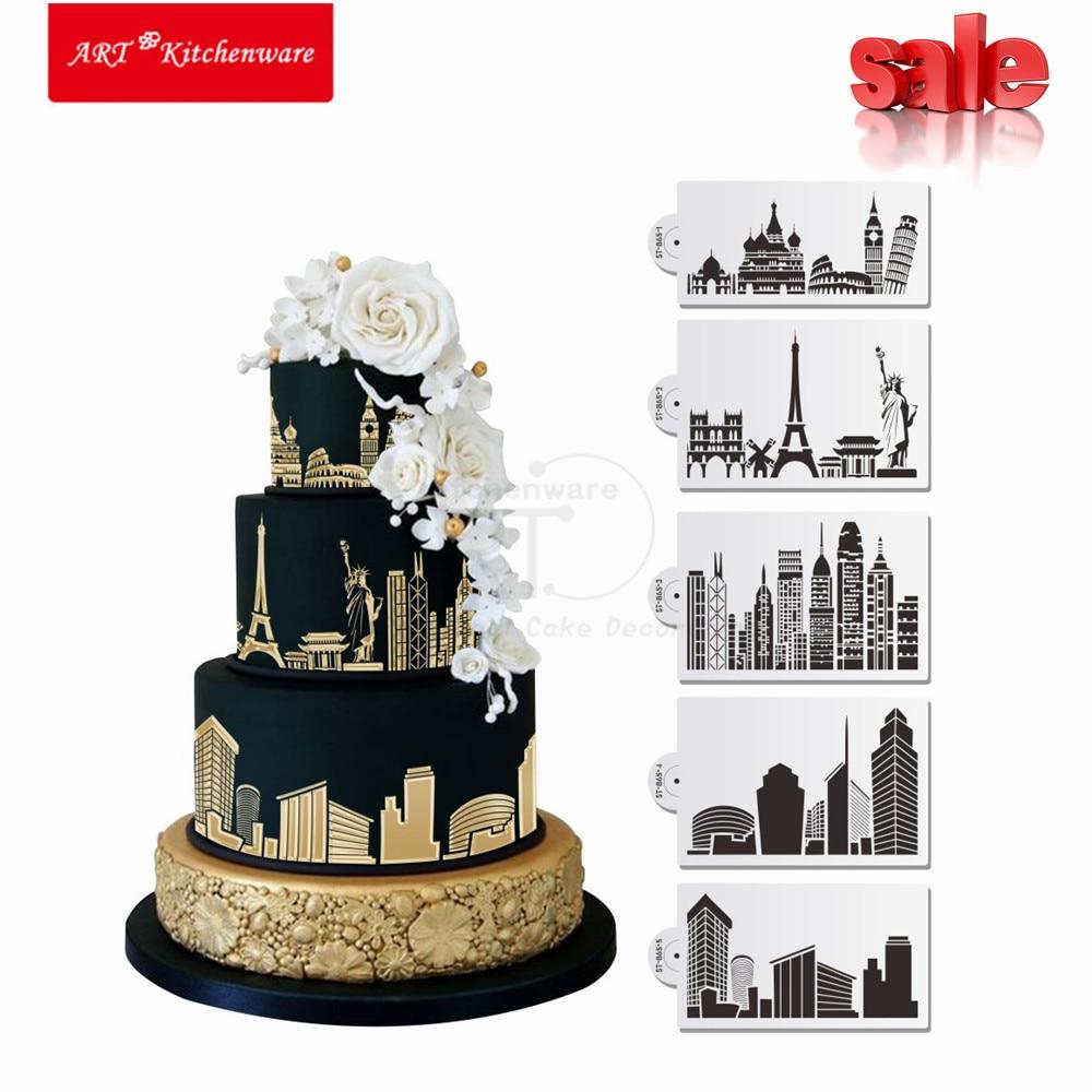 Landmaark kitchen accessories - Aliexpress Com Buy 5pcs Landmark Pisa Stencil Set Wedding Cake Stencil Eiffel Fondant Cake Decorating Tools Birthday Cake Mold Kitchenware St 865 From