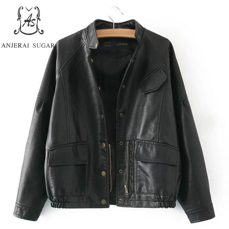 Spring PU   leather   jacket women motorcycle   leather   clothing black sexy Puff Sleeve female windcoat casual faux   leather   Jacket