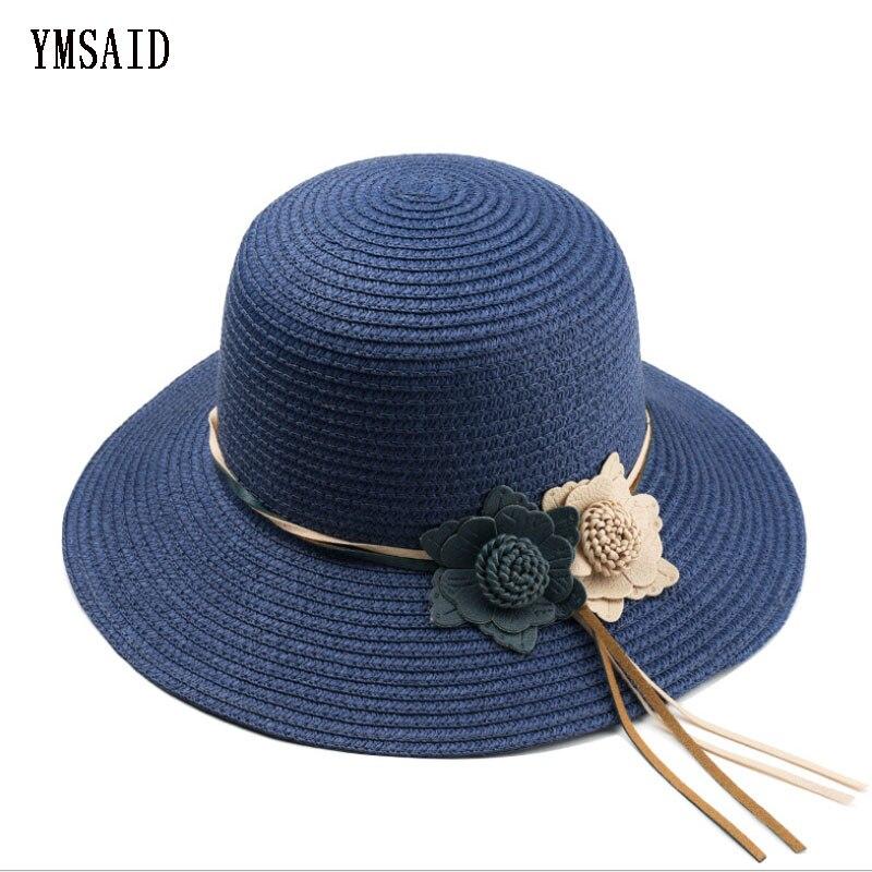 Ymsaid 2018 Nové dívky letní květiny Slamák Panama Hat Dámské plážové čepice