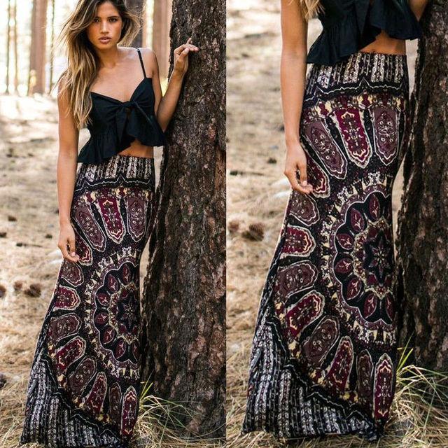 fd0a34fd9d Skirts BOHO Hippy Women Summer Floral Vintage Long Maxi Slim Skinny Skirt  Beach Clothing Casual Summer Sexy Women