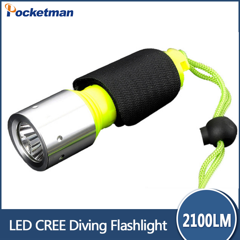 2017 New Hot Professional LED Torch 2100LM CREE T6 Underwater Diving Flashlight Torch Waterproof Lamp free shipping hot cree t6 lamp diving flashlight 2000 lm underwater hunting torch cycling climbing camping light free shipping