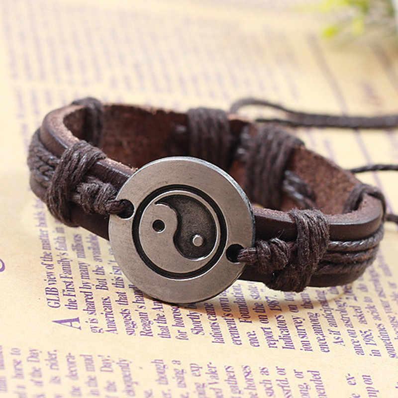 Модный Специальный женский мужской браслет Тай Чи Инь-Ян женский кожаный браслет из камней Винтажные Ювелирные изделия 2019