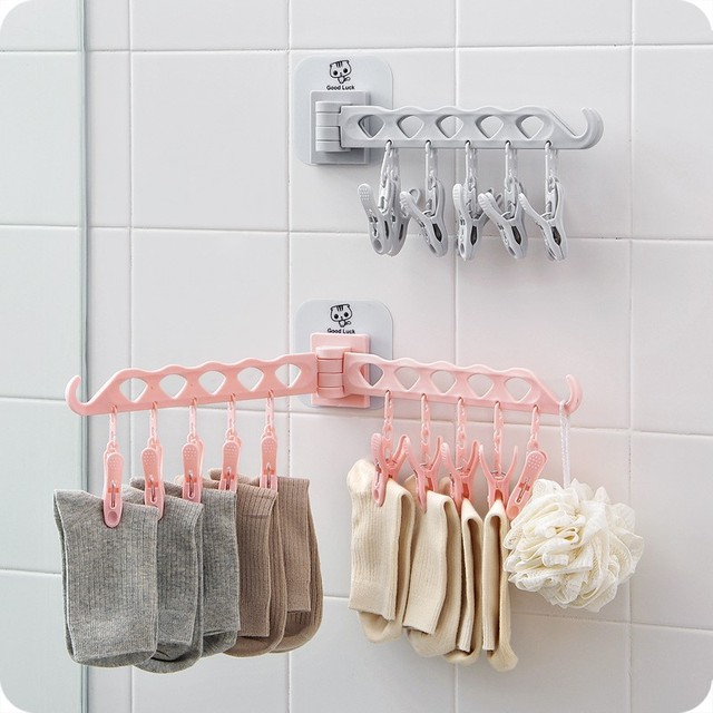 Foldable Wall Mounted Clothes Hangers Pegs Self Adhesive E Saving Wardrobe Bathroom Clothing Storage