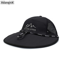 XdanqinX Summer Womens Mesh Breathable Ponytail Baseball Cap Large Visor Fashion Beach Hat Adjustable Size Mens Fishing Caps