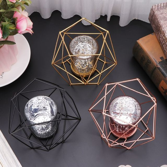 Nordic Style 3D Geometric Candlestick Metal Candle Holder Wedding Home Decor Hot 1