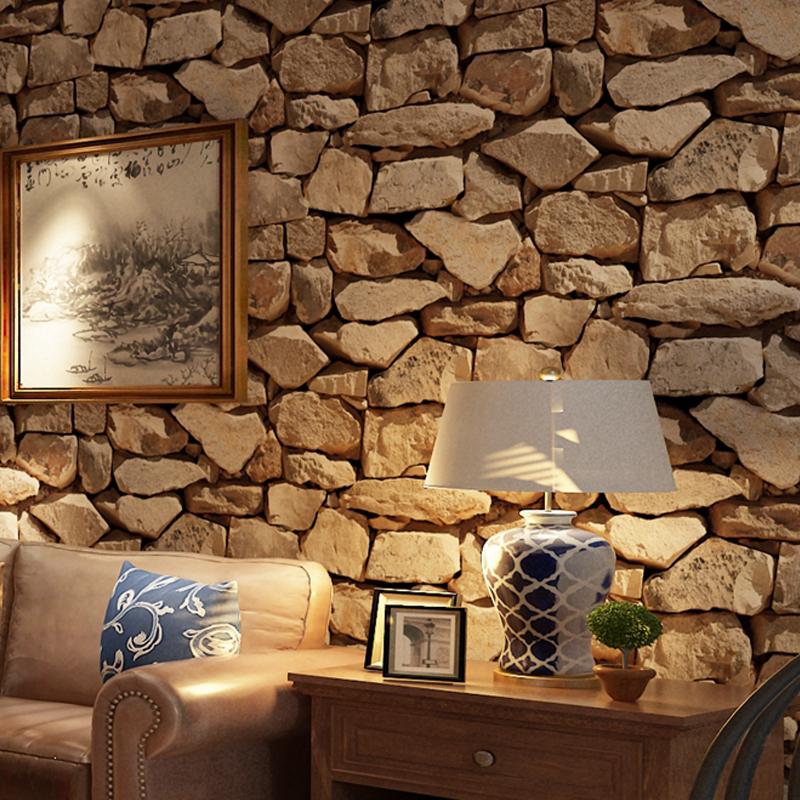 Image 4 - Waterproof Vintage 3D Stone Effect Wallpaper Roll Modern Rustic Realistic Faux Stone Texture Vinyl PVC Wall Paper Home Decor3d stone wallpaperstone wallpapervintage wallpaper -
