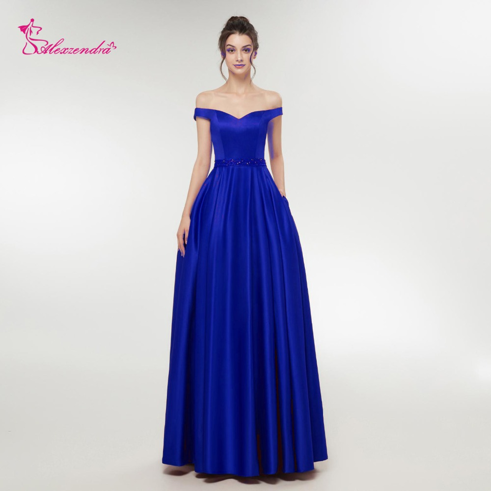 Alexzendra Off the Shoulder   Prom   Satin A Line   Prom     Dresses   with Beaded Belt Elegant Party   Dress   Custom Made Plus Size