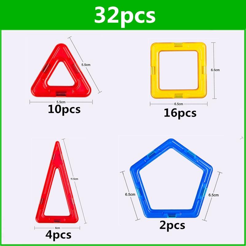 32 PCS szabványos méretű mágneses építőelemek Modell építési játékok Tégla tervező Enlighten tégla mágneses játékok