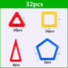 32 sztuk standardowy rozmiar klocki magnetyczne Model zabawki budowlane cegły projektant cegły oświetlone zabawki magnetyczne