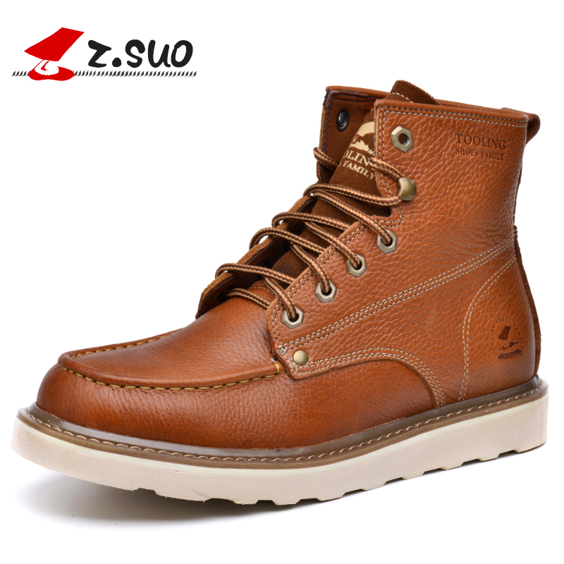 Z.SUO Brand 16206 Autumn Fashion Young Man 100% Genuine Leather Tooling Boots Soft Thick Single Cow Leather Men's Work Boots