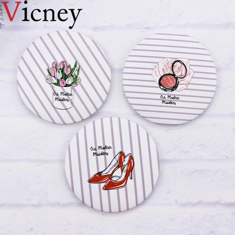 Vicney Fashion 1 pcs mini pocket makeup mirror cosmetic compact Mirrors Espelho De Maquiagem Espejos De Bolsillo Home Office Use