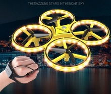 Interactive Induction Drone Toys Quadcopter LED Light UAV Aircraft Intelligent Watch Remote Control UFO Drone Children Gift