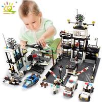 Police Station Prison Van Building blocks Figures Toy Compatible Legoing City Helicopter DIY Enlighten Bricks Toys For Children