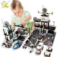 Police Station Prison Van Building blocks Figures Toy Compatible Legoed City Helicopter DIY Enlighten Bricks Toys For Children
