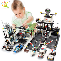 Police Station Prison Van Building blocks Figures Toy Compatible Legoed City Helicopter DIY Enlighten Bricks Toys For Children