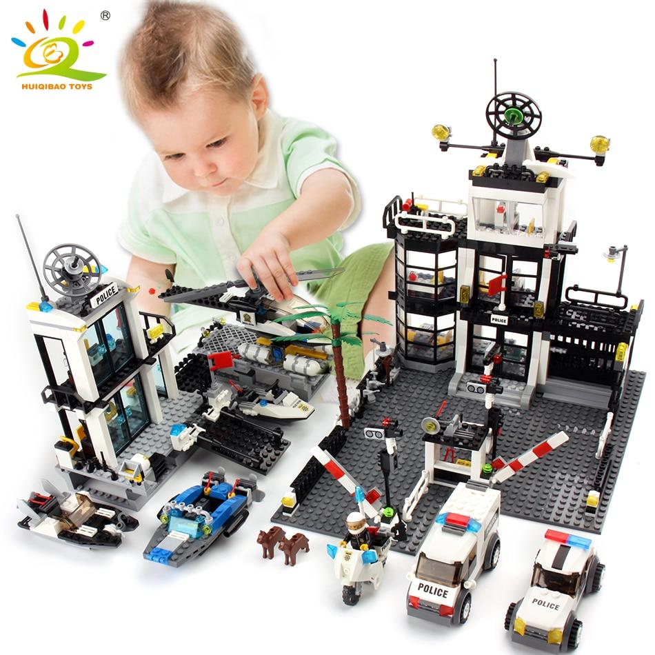 Poste de Police Prison Van Building blocks Figures Jouet Compatible Legoing Ville Hélicoptère DIY Éclairer Briques Jouets Pour Enfants