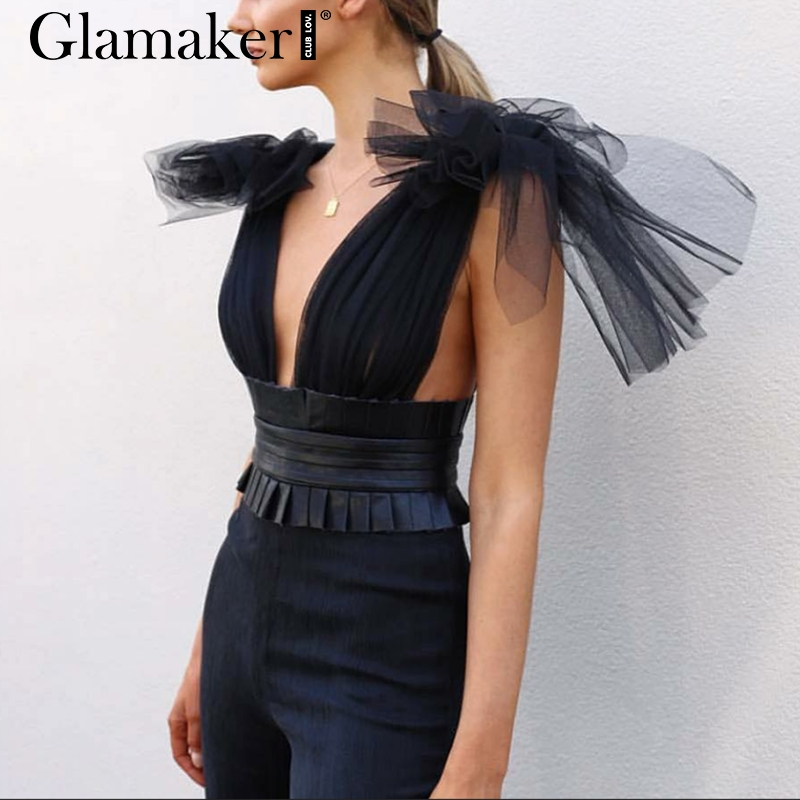 Glamaker Sexy deep v neck mesh backless   jumpsuit   Women summer high waist bodycon   jumpsuit   rompers Female elegant party overalls