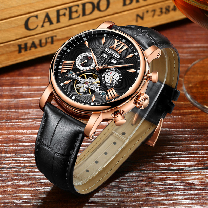 KINYUED Perpetual Calendar Tourbillon Mechanical Watch Men Rose Gold Leather Self-Wind Automatic Mens Watches Relogio MasculinoKINYUED Perpetual Calendar Tourbillon Mechanical Watch Men Rose Gold Leather Self-Wind Automatic Mens Watches Relogio Masculino