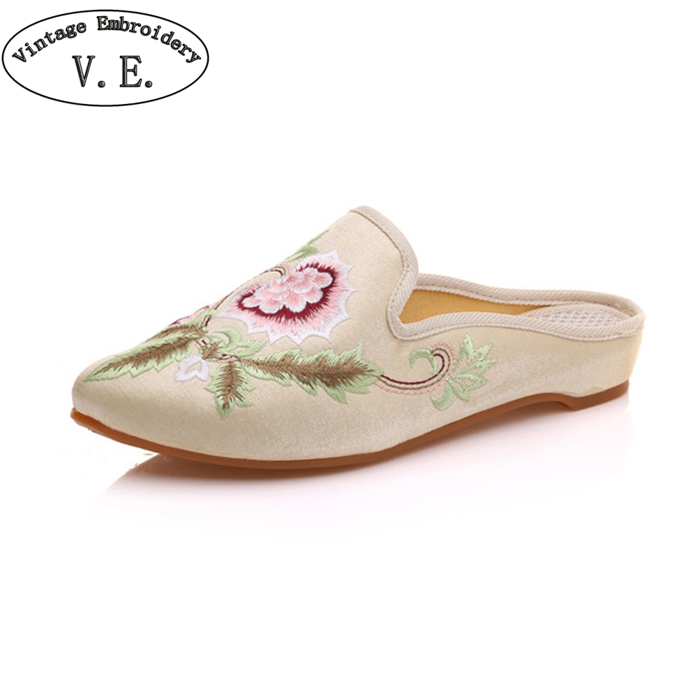 Women Slippers Pointed Toe Floral Embroidered Summer Sandal Comfort Slip-on Satin Flat Shoes Woman Zapatillas Mujer Plus Size 43 plus size floral embroidered v neck dress
