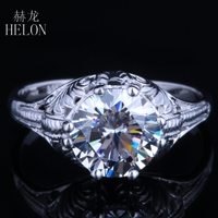 HELON 8mm Round 2ct Moissanites Ring 8 Prongs Engagement Ring Engraved Vintage Style Proposal Ring Solitaire Solid 14K Gold Ring