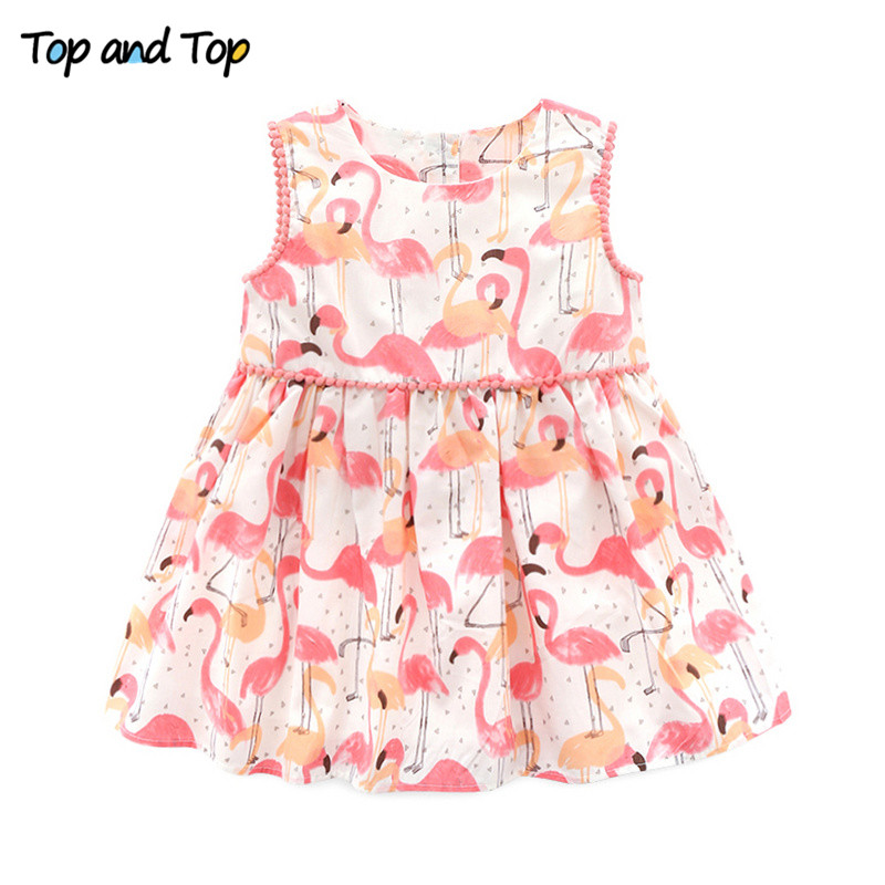 Top and Top Summer Fashion Newborn Toddler Baby Girls Dresses Princess Party Casual Cartoon Sleeveless Cotton Dresses white casual sleeveless hooded top