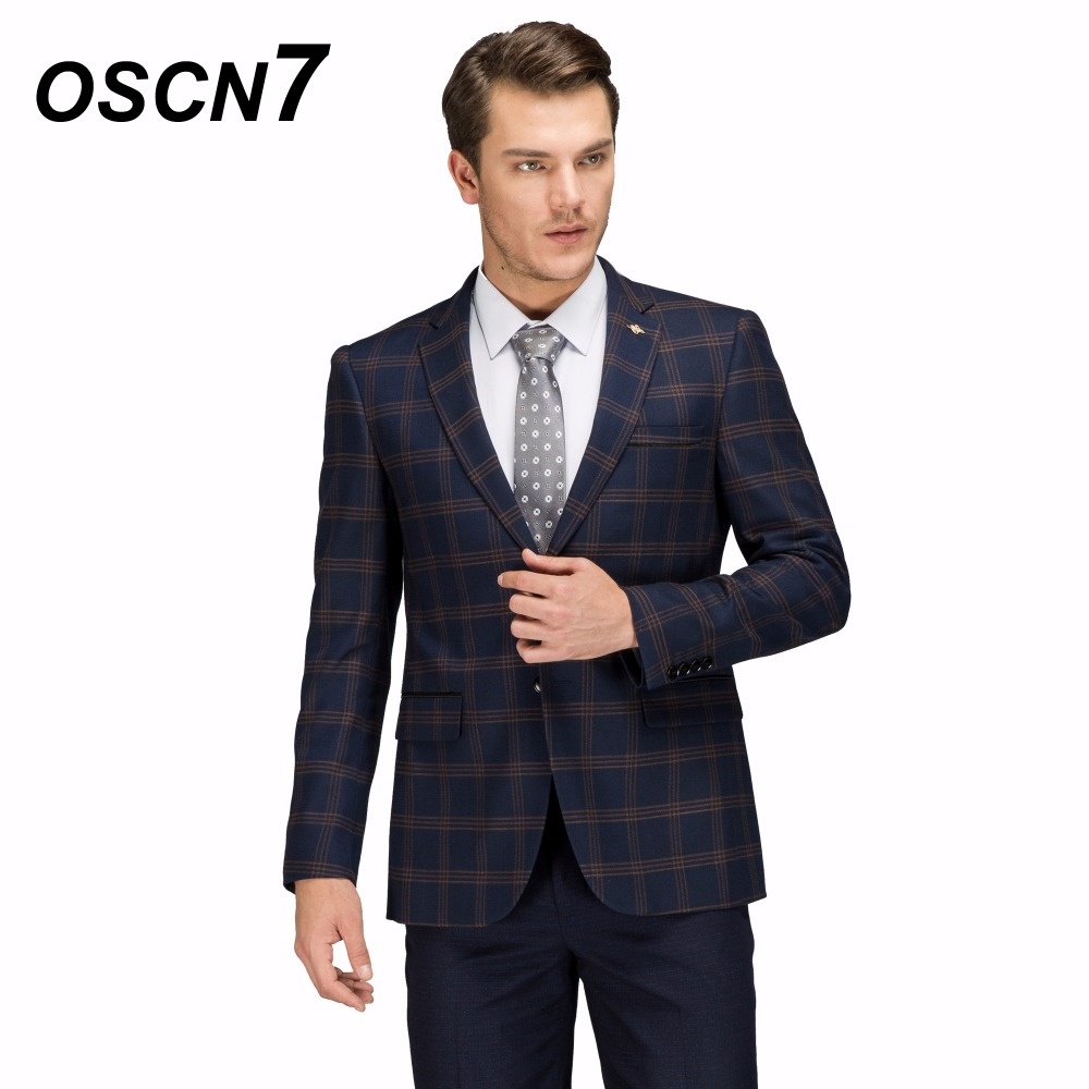 OSCN7 Wool Check Man Blazer Casual Plus Size Casual Business Leisure Mens Blazer Jacket Fashion 2018 New Blazer Masculino 4XL