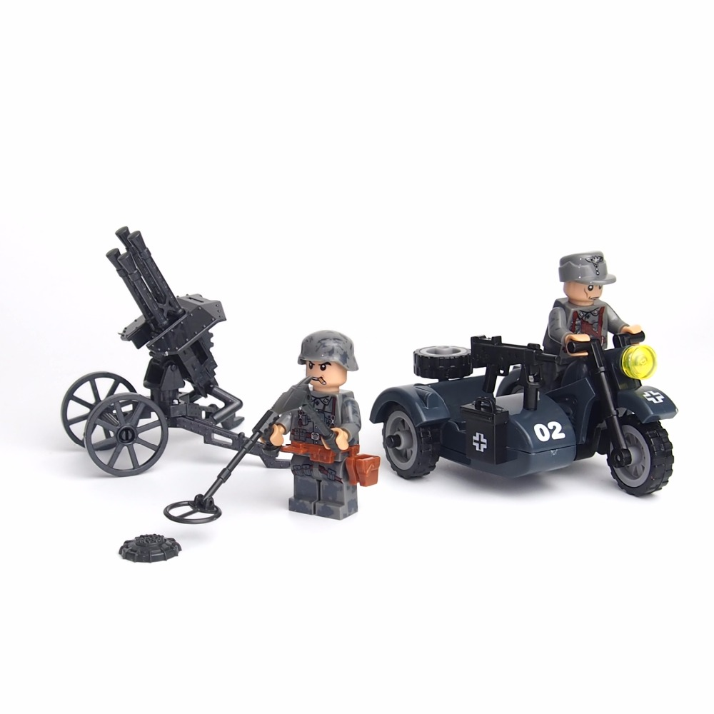 City Block Mini Military WW2 German Waffen SS US Soldiers Battle Soviet Red Army Building Block Action Figure Toys for children