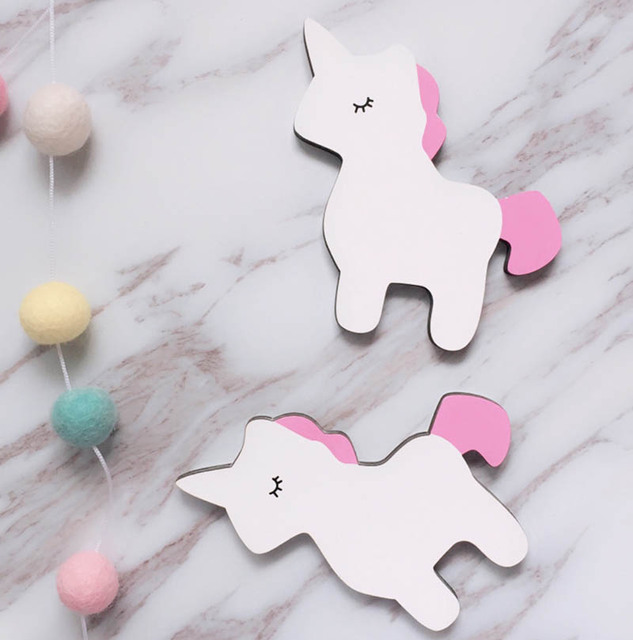 Unicorn wall clothes hooks wooden baby kids room