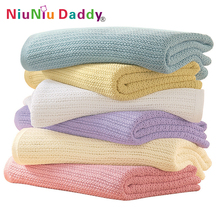 Niuniu Daddy Cotton Crochet Newborn Baby Blankets Cellular Blanket Summer Candy Color Casual Sleeping Bed Supplies Hole Wrap(China)