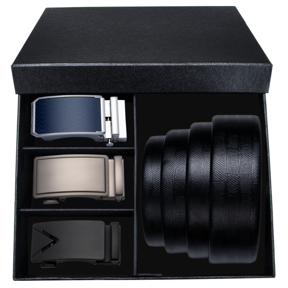 Barry.Wang Top Quality Mens   Belt   For Men 3PCS Automatic Buckle Male 110-160CM Black Strap Genuine Leather   Belt   With Gift Box