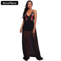 Summer Black Spaghetti Strap Embroidery Chiffon Romper Sexy Club Jumpsuit 2017 Ladies Spandex Bodysuit Combinaison Short