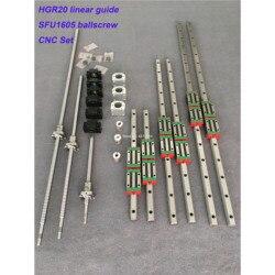 HGR20 Quadrato guida di guida Lineare 6 set HGR20-400/860/1240mm + SFU1605-350/ 800/1120/1120 millimetri vite a sfere + BK12 BF12 parti CNC