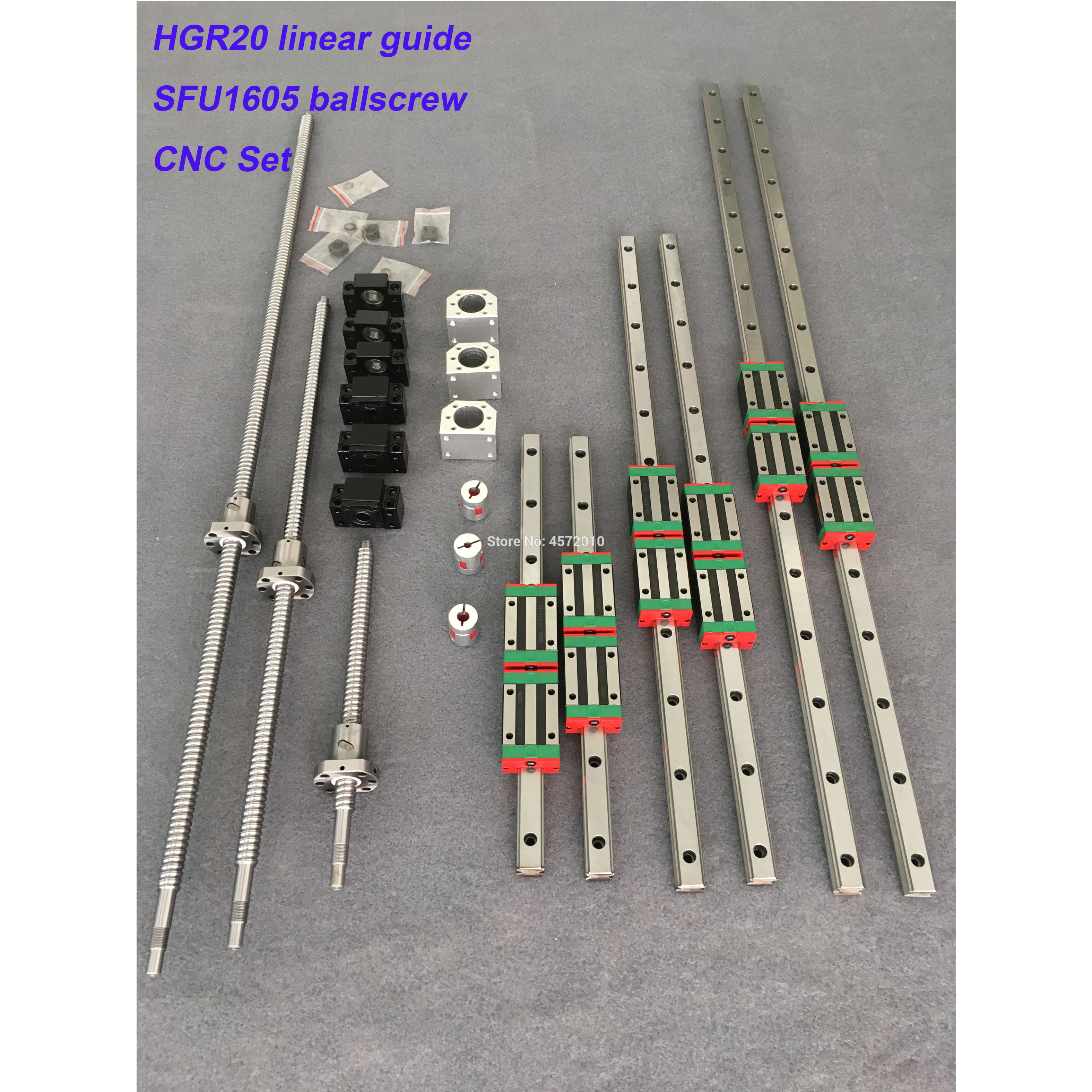 HGR20 rail de guidage linéaire carré 6 set HGR20-400/860/1240mm + SFU1605-350/800/1120/1120mm vis à billes + BK12 BF12 pièces de CNC