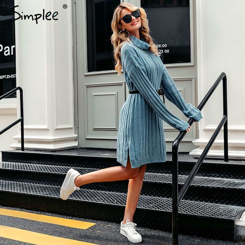 Image 3 - Simplee Elegant knitted dress women Autumn turtle neck female white sweater dress Sexy holiday solid ladies winter teal vestidos-in Dresses from Women's Clothing