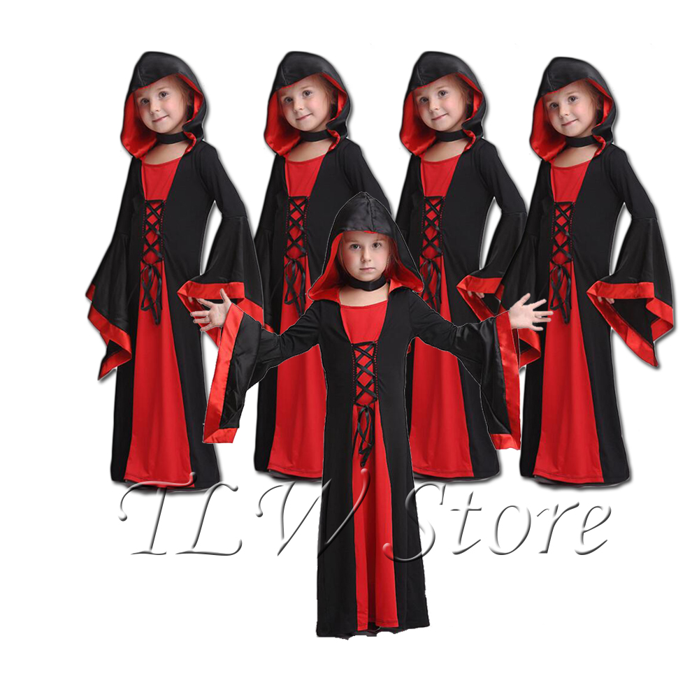 Hooded Vamp Robe Red Black Gothic Girl Childs Kids Girls Fancy Dress Costume