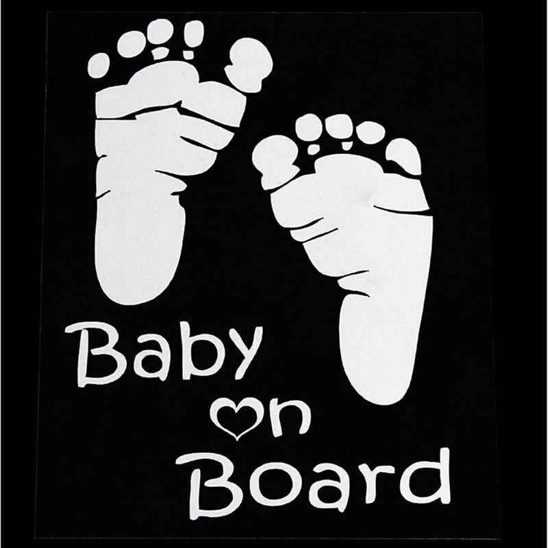 1Pcs Nieuwe Ontwerp Leuke Brief Baby Aan Boord Baby Voetafdrukken Stickers Refective Auto Sticker Auto Veiligheidswaarschuwing Venster Sticker