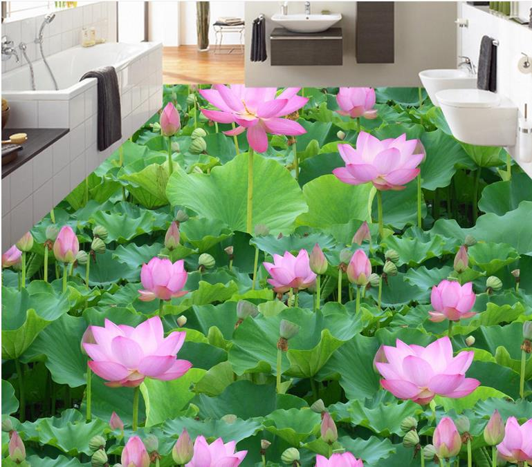 bathroom 3d flooring mural wallpaper Lotus lotus leaf pond flowers 3d floor painting waterproof pvc self adhesive wallpaper free shipping 3d carp lotus pond lotus flooring painting tea house study self adhesive floor wallpaper mural