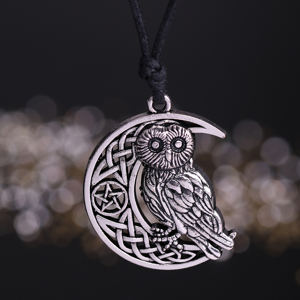 Owl Necklace Goddess Crescent Moon Pendant Wicca Amulet Talisman Occult  Magick Athena Wisdom Knowledge Jewelry